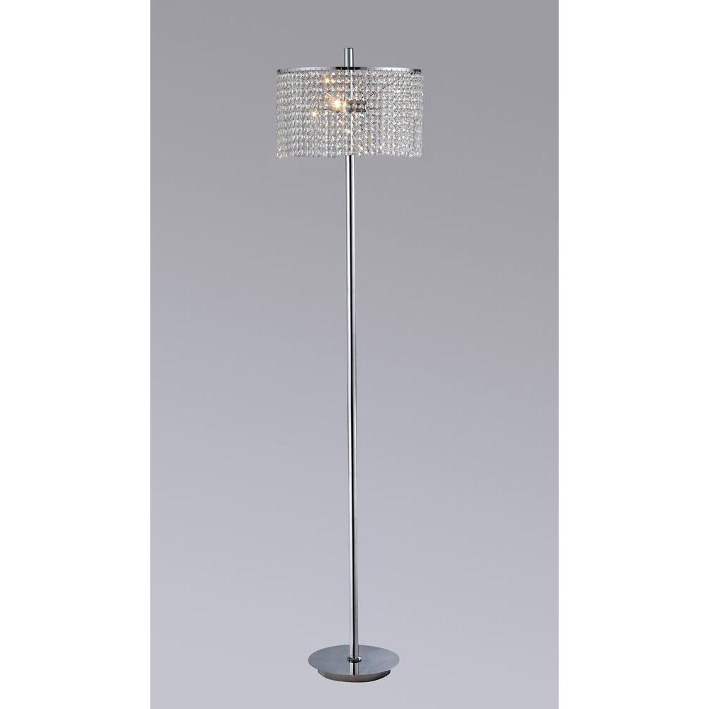 Annabelle 65 in. Chrome Indoor 2-light Floor Lamp with Crystal Shade ...