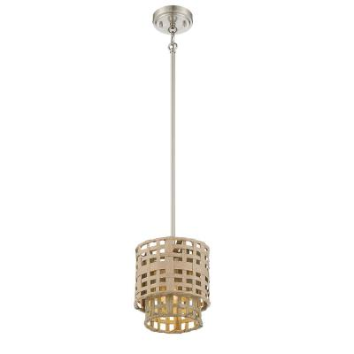 Good Lumens By Madison Avenue 4 Light Brushed Nickel Pendant With Weathered Grey And Natural Rattan Shade 17044 The Home Depot