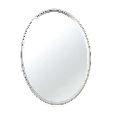 Flush Mount 25 in. x 33 in. Framed Oval Mirror in Satin Nickel
