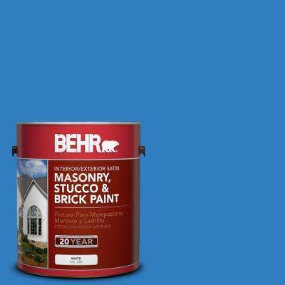 1 gal. #P510-6 Brilliant Blue Satin Interior/Exterior Masonry, Stucco and Brick Paint