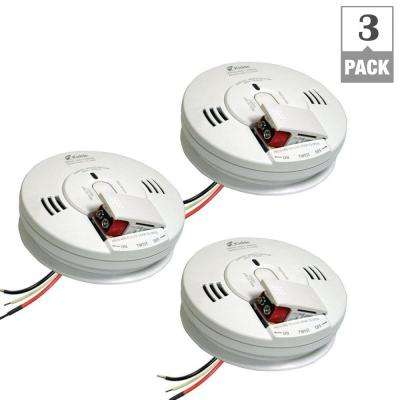 Hardwire Smoke and Carbon Monoxide Combination Detector with 9V Battery Backup and Voice Alarm (3-pack)