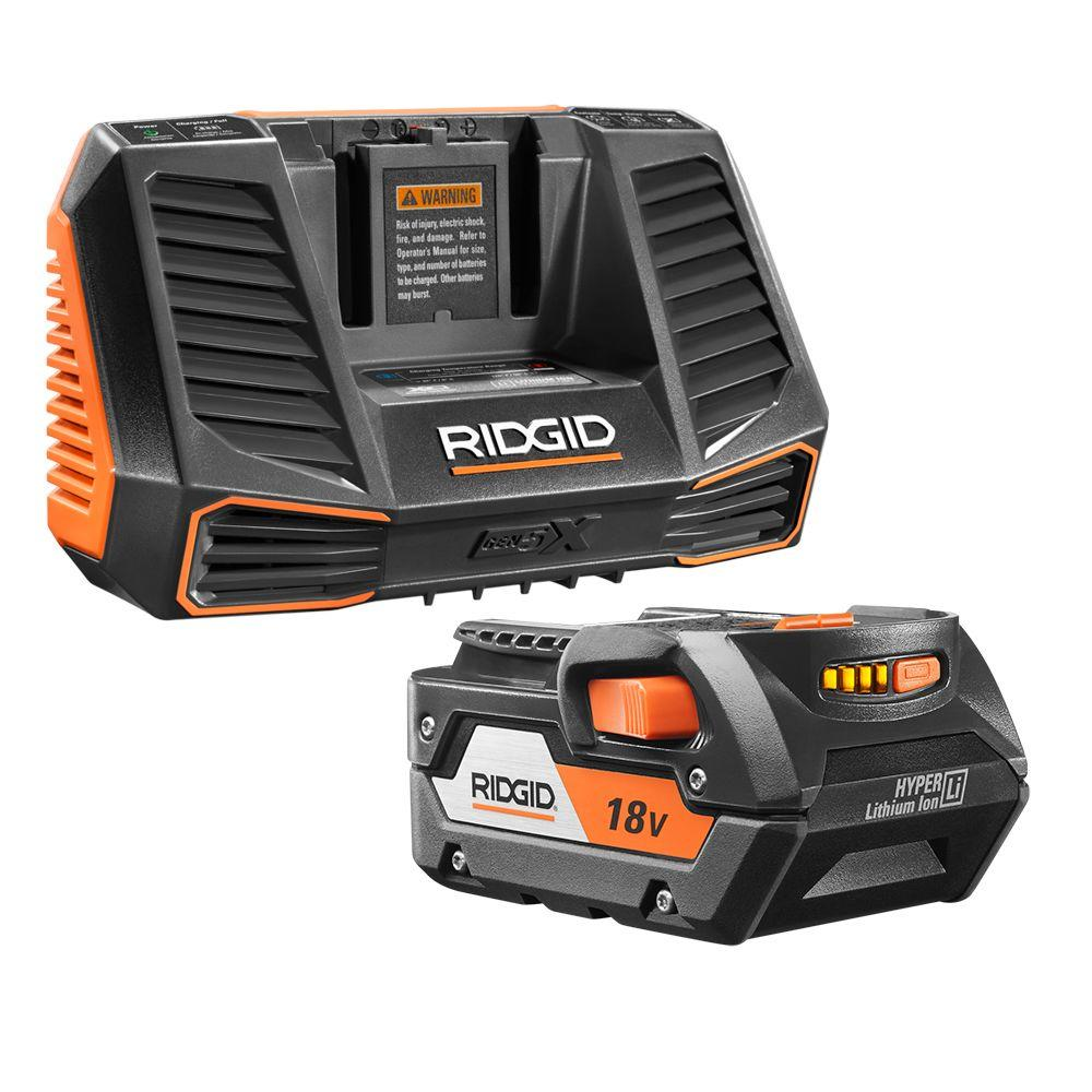 RIDGID 18-Volt HYPER Lithium-Ion Battery Pack 4.0Ah and Charger Kit