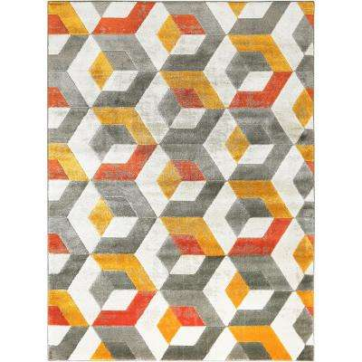 Tanja Cherelle Ivory/Gray 5 ft. 2 in. x 7 ft. 2 in. Indoor Area Rug