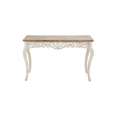 Litton Lane Distressed Antique White and Taupe Rectangular Parisian-Inspired Console Table