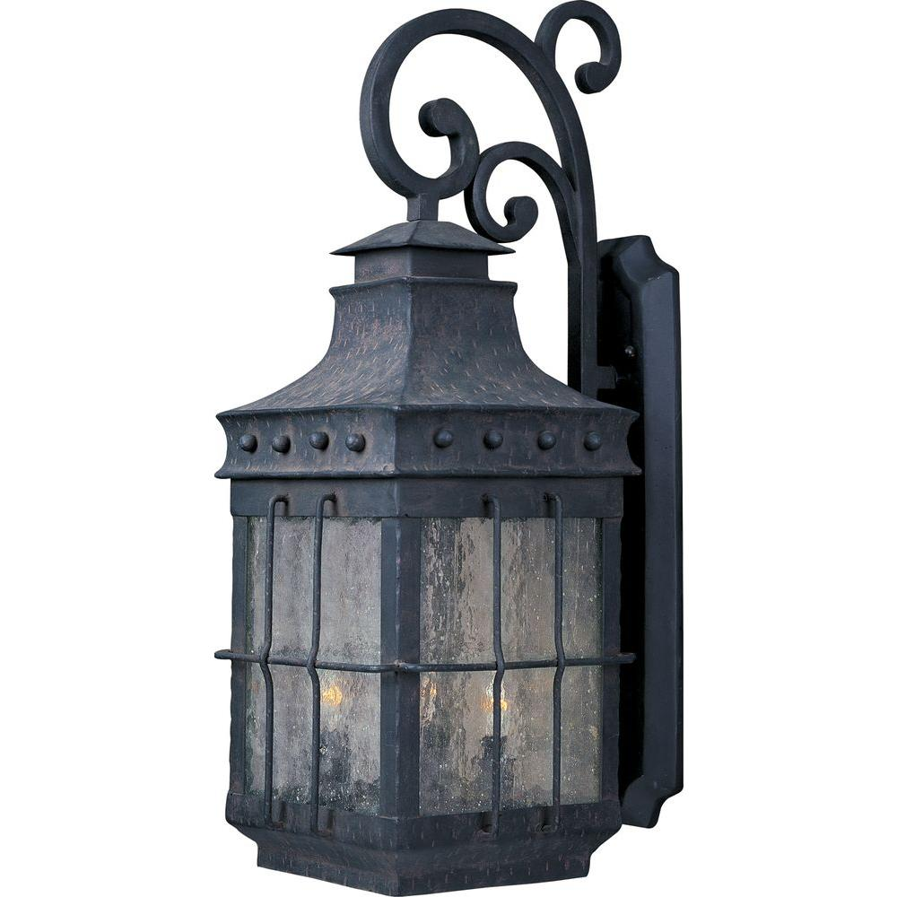 Maxim lighting nantucket 4 light country forge outdoor for Early american outdoor lighting