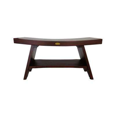 Serenity 35 in. Eastern Style Teak Shower Bench with Shelf