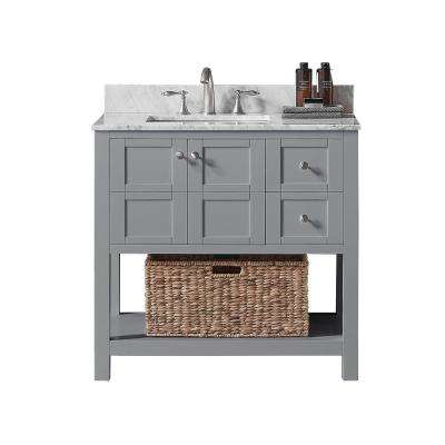 Makena 36 in. W x 22 in. D x 34.2 in. H Bath Vanity in Taupe Grey with Marble Vanity Top in White with White Basin