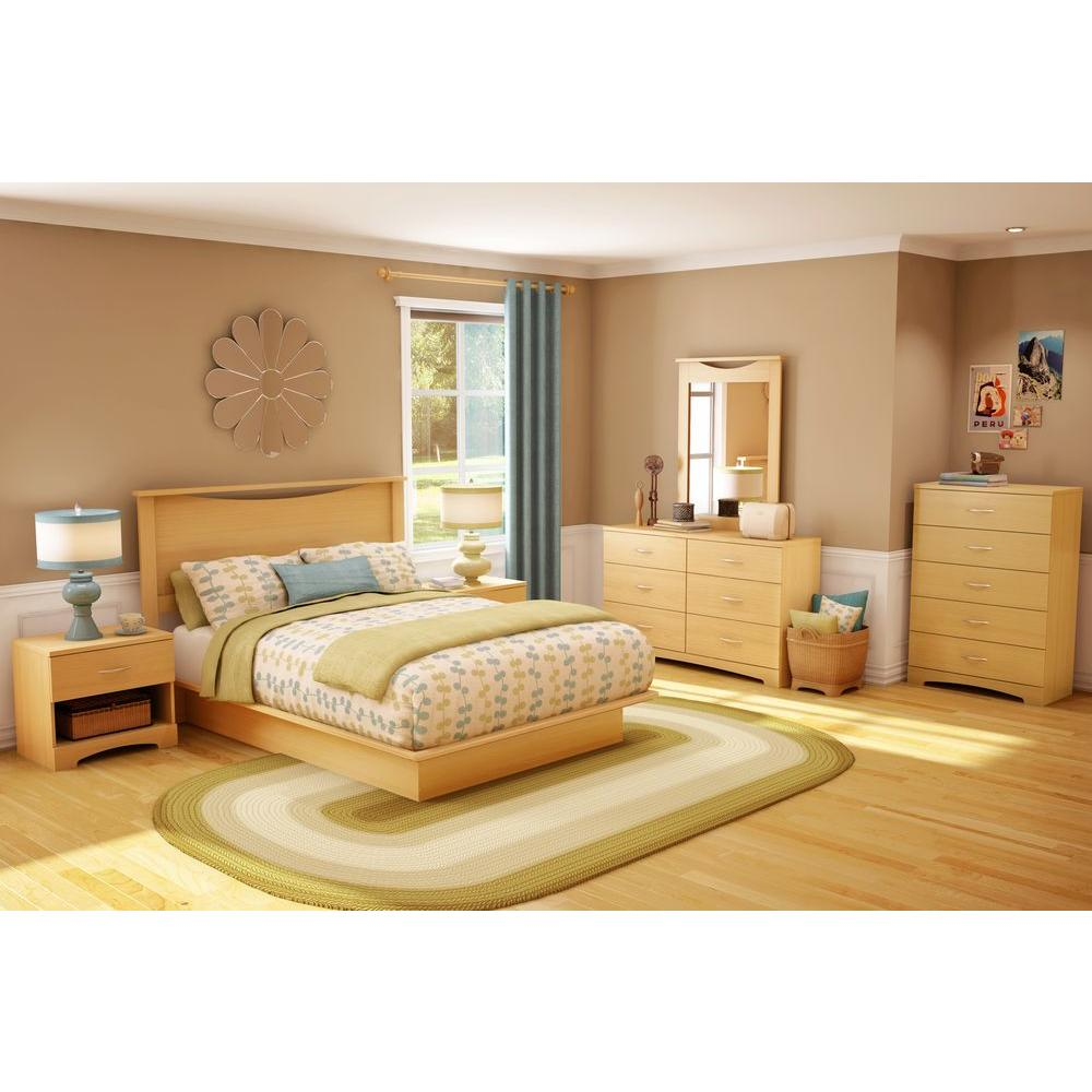 South Shore Step One Queen Size Platform Bed in Natural Maple