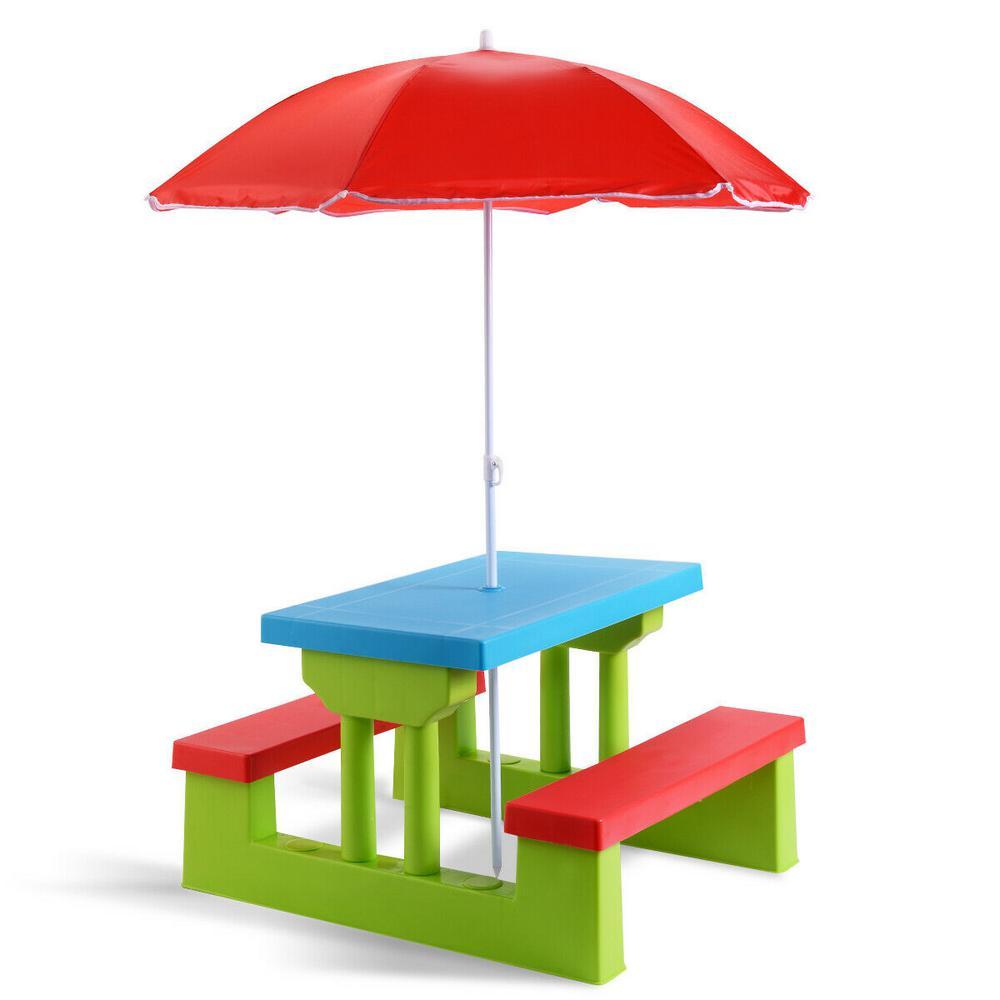 Rectangle Plastic 4 Seat Kids Picnic Table