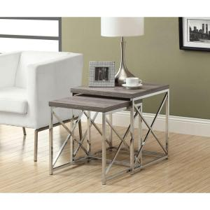 Monarch Specialties Dark Taupe 2-Piece Nesting End Table by Monarch Specialties