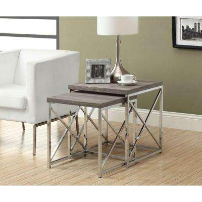 Dark Taupe 2-Piece Nesting End Table