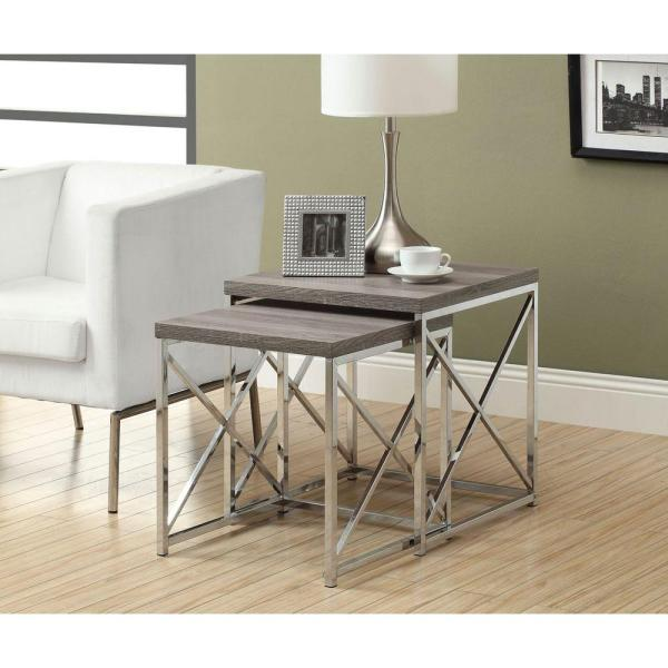 Monarch Nesting Table 2Pcs Set / Dark Taupe With Chrome Metal