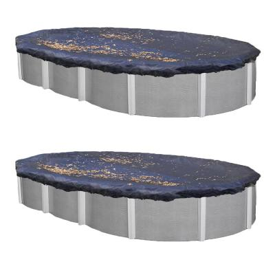 15 ft. x 30 ft. Oval Blue Heavy-Duty Above Ground Winter Swimming Pool Cover (2-Pack)