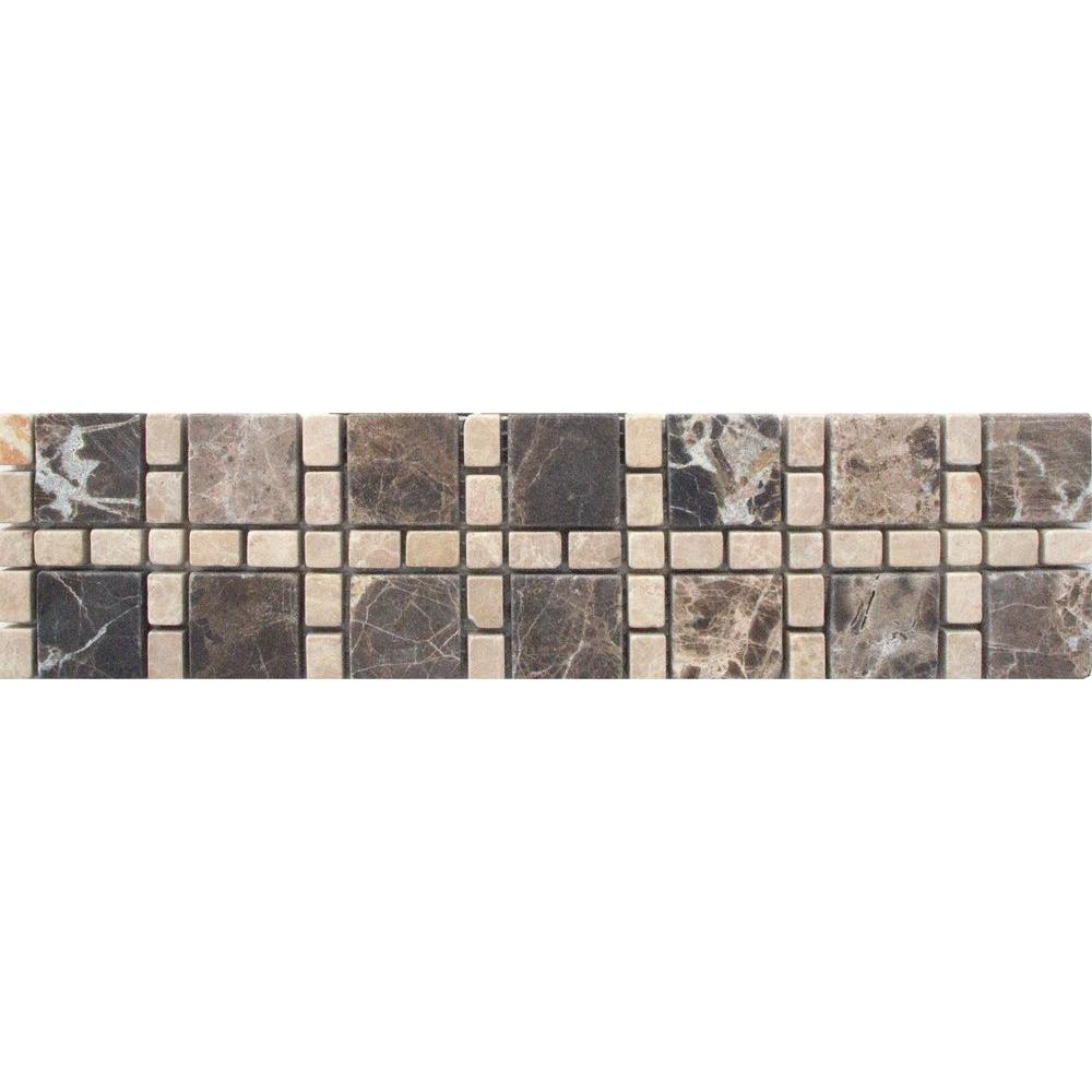 Msi Emperador Dark Light Border 3 In X 12 Marble Floor And Wall Tile 1 Ln Ft Thdw1 Bor Cor4 The Home Depot