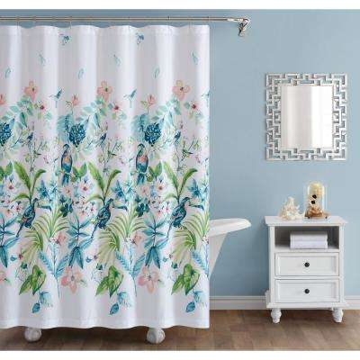 Tropical Bungalow 72 in. x 72 in. Multi-Color Shower Curtain