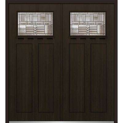 72 in. x 80 in. Oak Park Right-Hand Inswing 1/4-Lite Decorative Stained Fiberglass Fir Prehung Front Door with Shelf