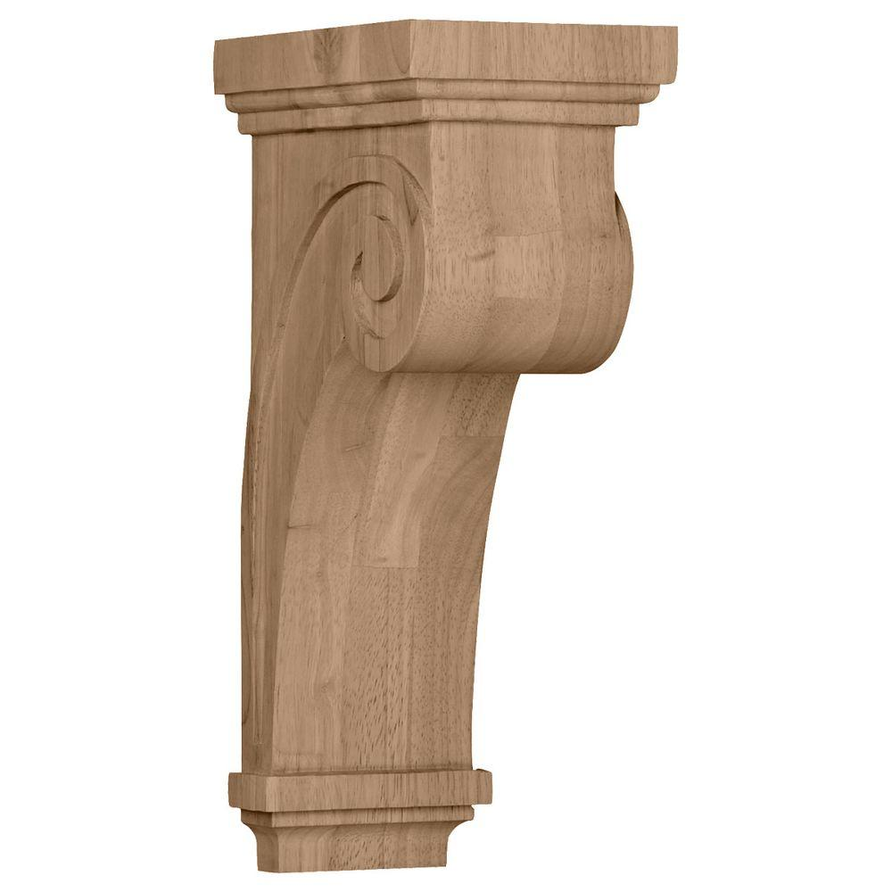 Ekena Millwork 8-1/4 in. x 5-1/2 in. x 16 in. Unfinished Wood Maple Scroll Corbel