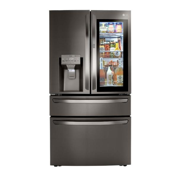 22.5 cu. ft. French Door Refrigerator with InstaView, Dual and Craft Ice in PrintProof Black Stainless, Counter Depth