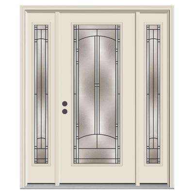 62 in. x 80 in. Full Lite Idlewild Primed Steel Prehung Right-Hand Inswing Front Door with Sidelites