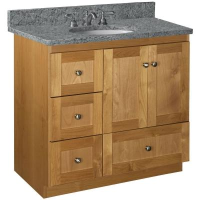 Shaker 36 in. W x 21 in. D x 34.5 in. H Simplicity Vanity with Left Drawers in Natural Alder