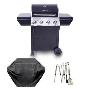 Nexgrill 4-Burner Propane Gas Grill in Black with Stainless Steel Control Panel Plus Cover and Tool set by Nexgrill