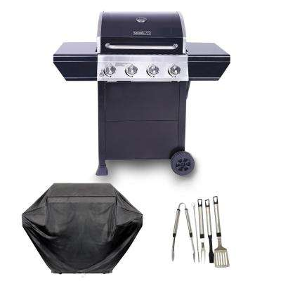 4-Burner Propane Gas Grill in Black with Stainless Steel Control Panel Plus Cover and Tool set