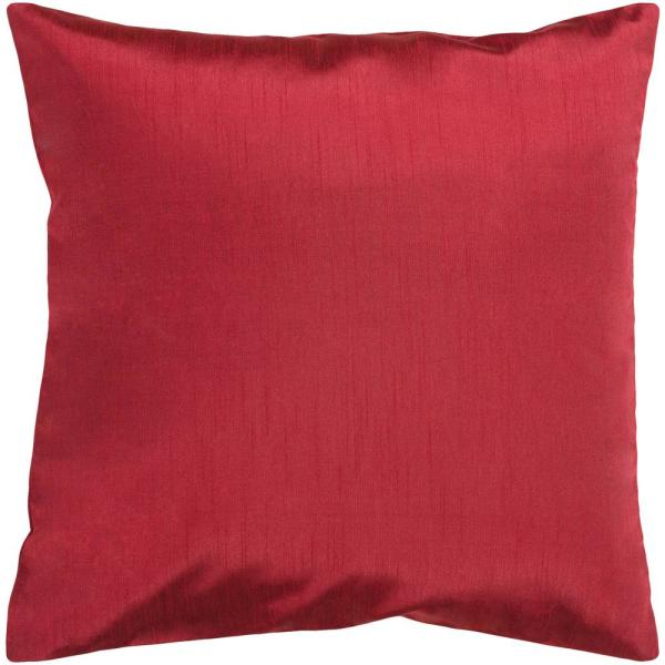 Visoko Dark Red Solid Polyester 18 in. x 18 in. Throw Pillow