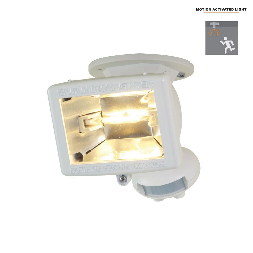 All-Pro 110-Degree White Halogen Motion Activated Sensor Outdoor Security Flood Light