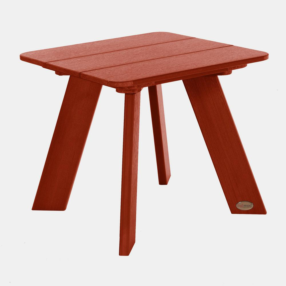 Barcelona Modern Rustic Red Plastic Outdoor Side Table