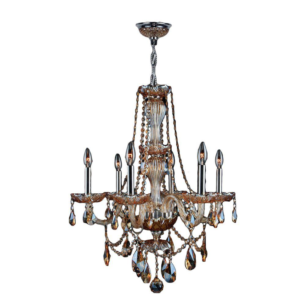 Worldwide Lighting Provence 6-Light Chrome Amber Crystal Chandelier