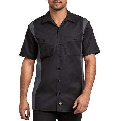 Men's Black Charcoal 2-Tone Short Sleeve Work Shirt