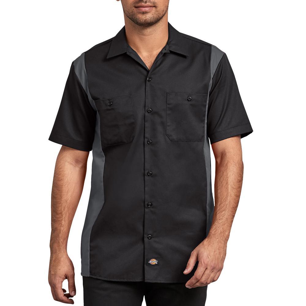 c4a4edd3d78a Dickies Men's Black Charcoal 2-Tone Short Sleeve Work Shirt ...