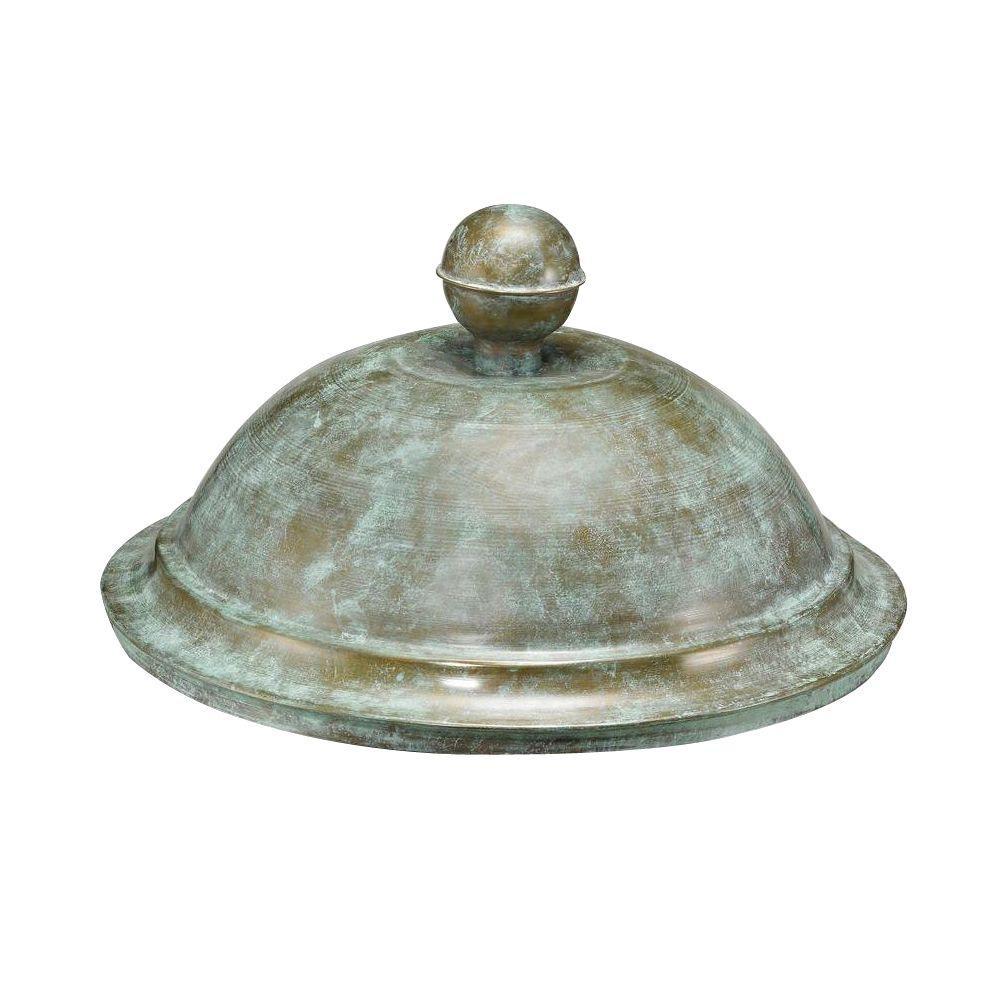 18 in. x 10 in. Blue Verde Brass Hose Pot Lid
