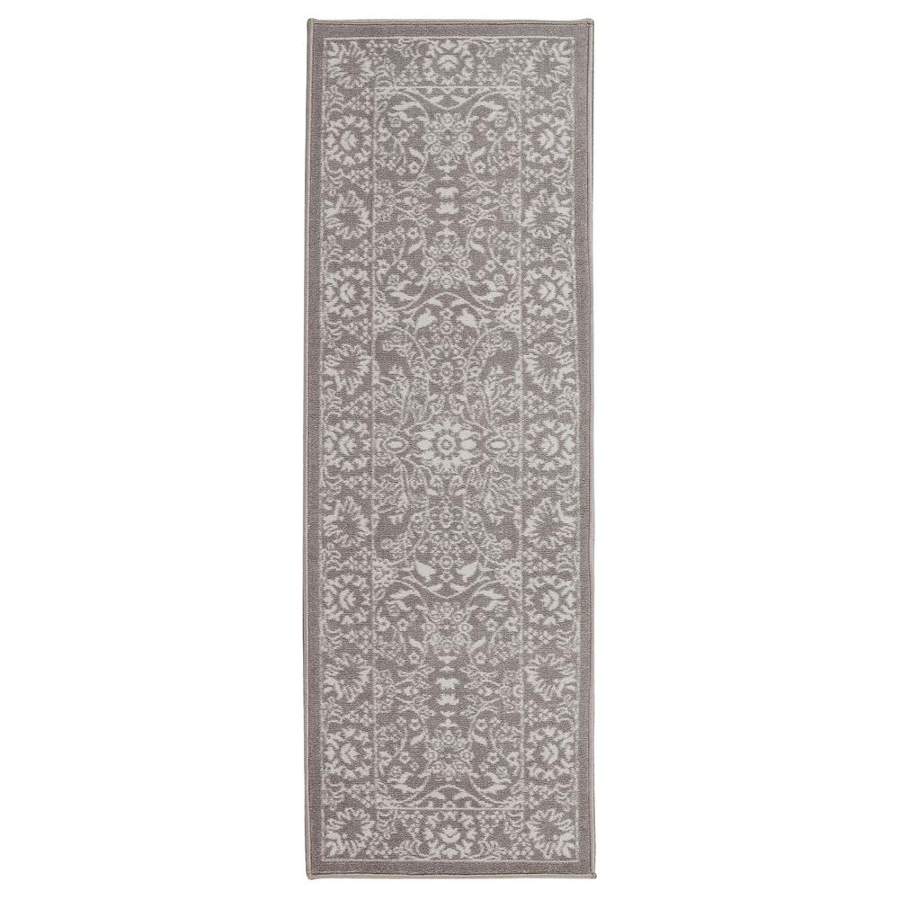 Anne Collection Oriental Mahal Design Gray And 2 Ft X 6 Non