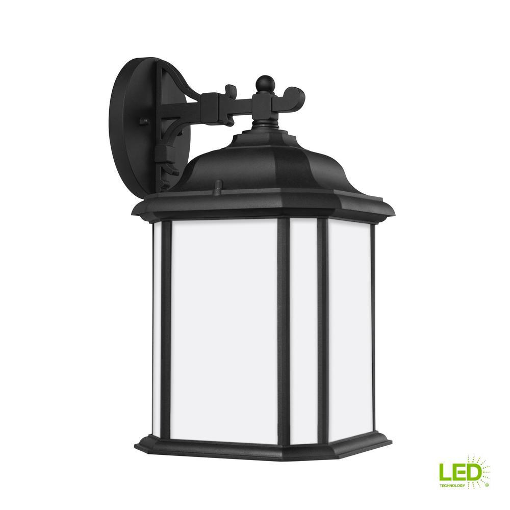 Sea Gull Lighting Kent 1-Light Black Outdoor 15 in. Wall Lantern Sconce with LED Bulb