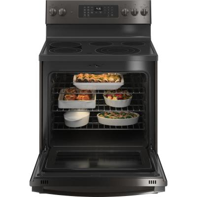 Profile 30 in. 5.3 cu. ft. Electric Range with Self-Cleaning Convection Oven and Air Fry in Black Stainless Steel