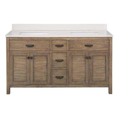 Stanhope 61 in. W x 22 in. D Vanity in Reclaimed Oak with Engineered Stone Vanity Top in Coffee with White Sinks