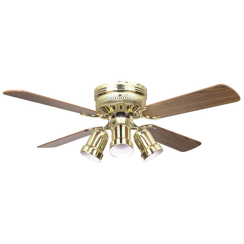 Hugger Series 42 in. Indoor Polished Brass Ceiling Fan