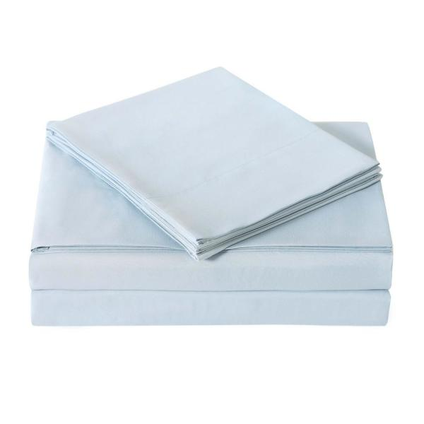 Truly Soft Light Blue 4-Piece Solid 180 Thread Count Microfiber King Sheet Set