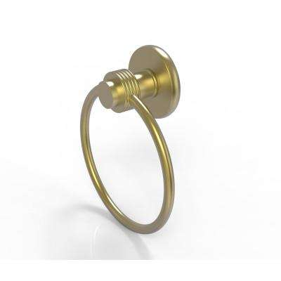 Mercury Collection Towel Ring with Groovy Accent in Satin Brass