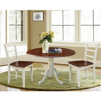 Brynwood 3-Piece 42 in. Almond/Espresso Round Drop-Leaf Wood Dining Set with Madrid Chairs