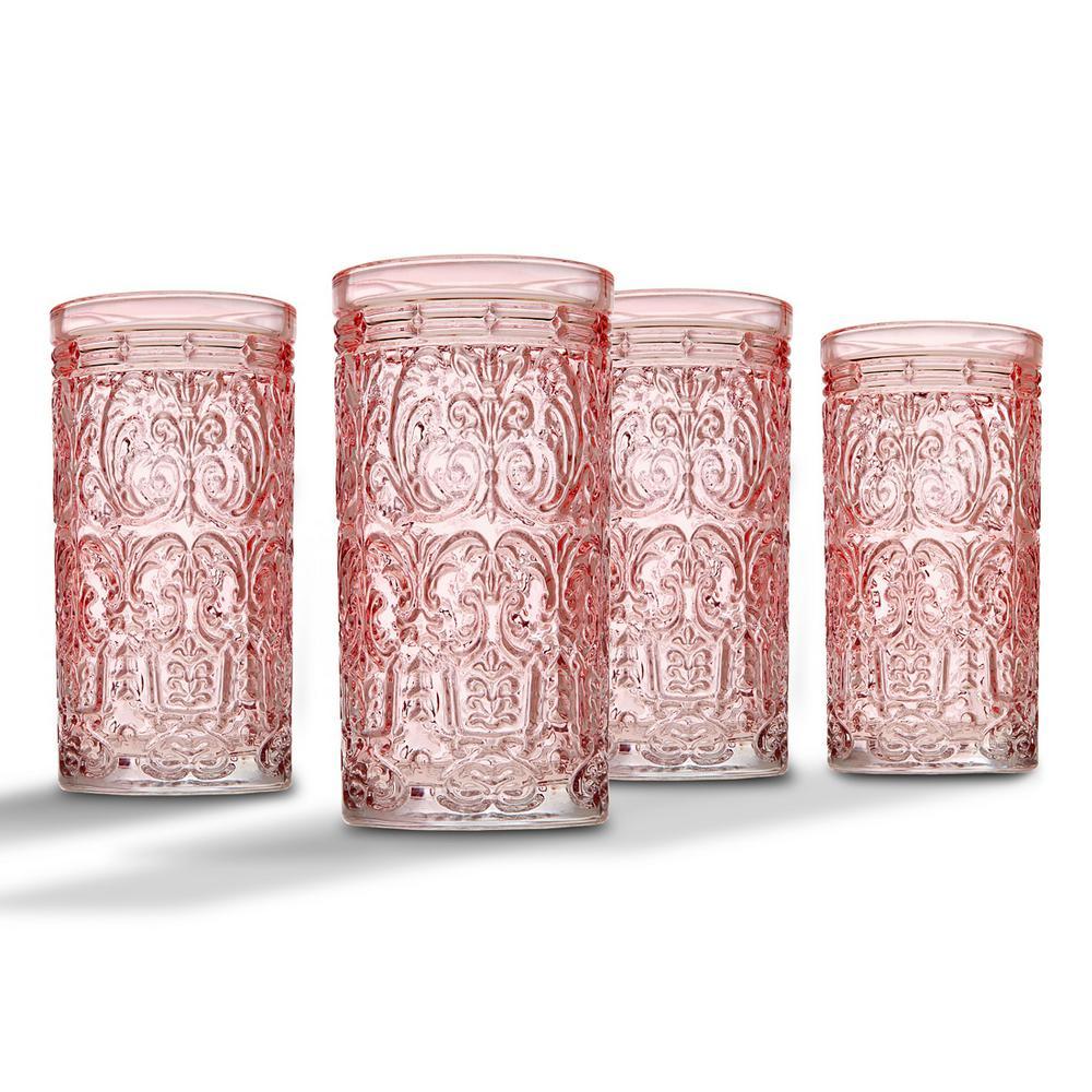 Godinger Jax 14 oz. Pink Crystal Highball Glasses (Set of 4)