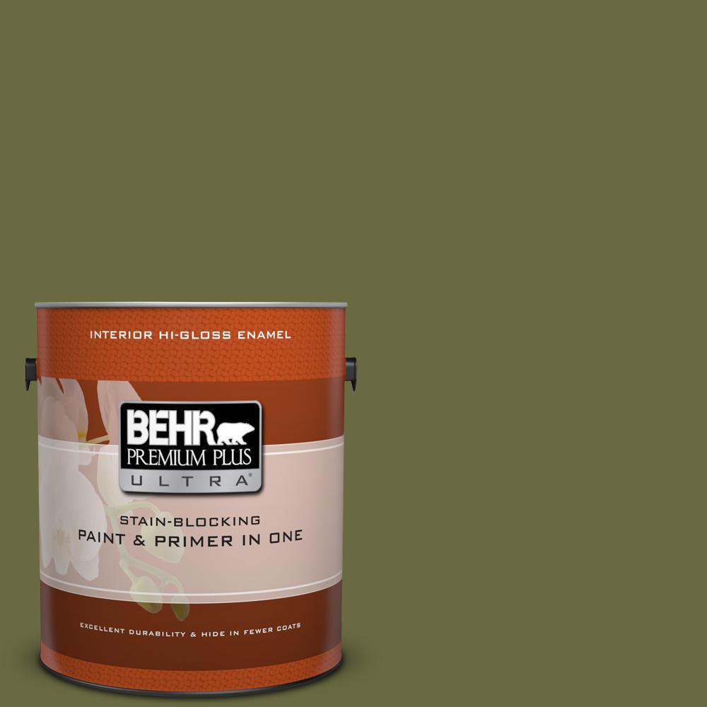 1 gal. #HDC-CL-20 Portsmouth Olive Hi-Gloss Enamel Interior Paint