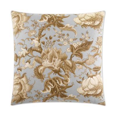 Dennehy Aqua Floral Down 24 in. x 24 in. Throw Pillow
