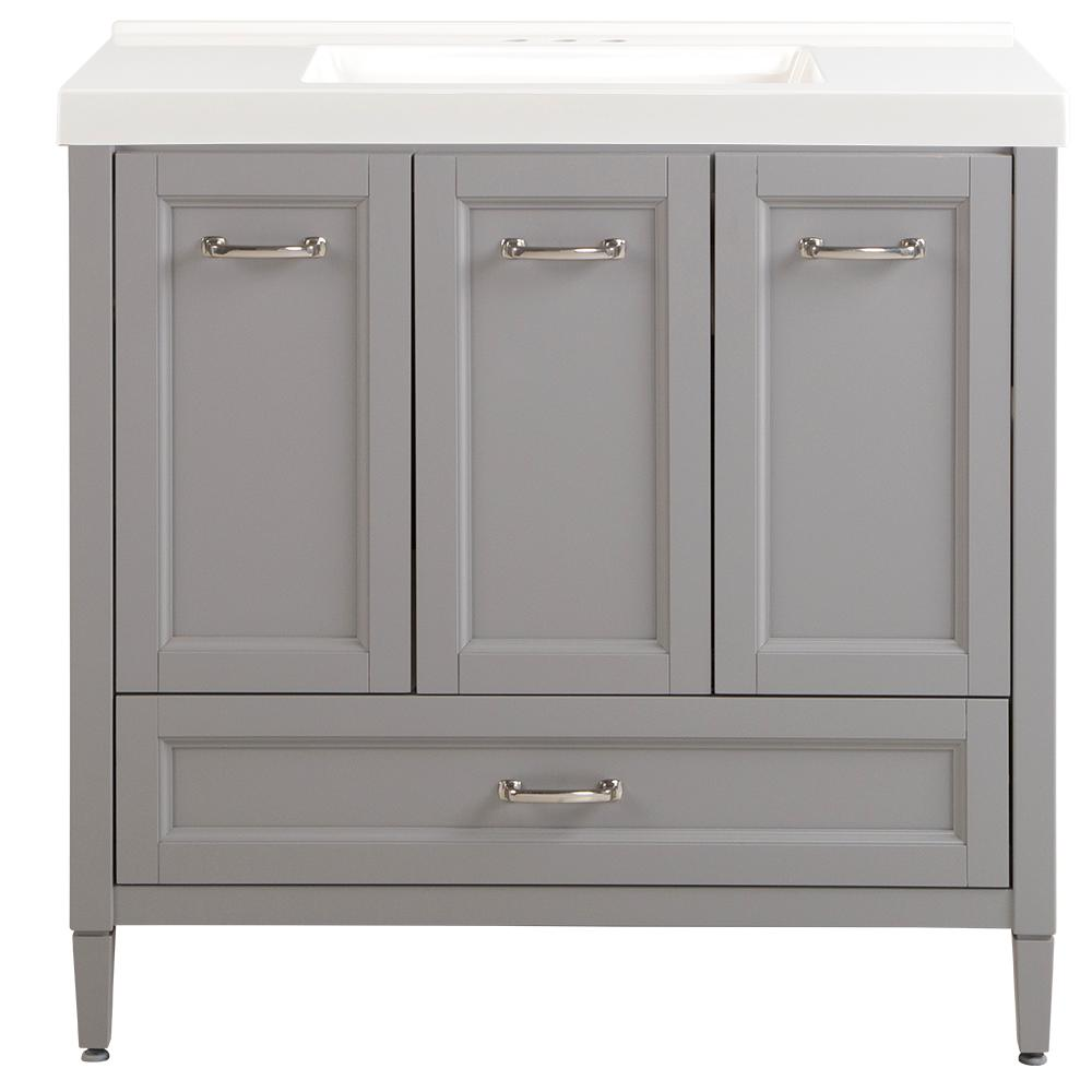 Home Decorators Collection Claxby 37 in. W x 22 in. D x 37 in. H Vanity in Sterling Gray with Cultured Marble Vanity Top in White with White Sink