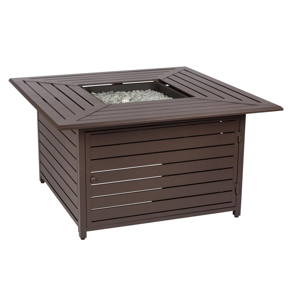 Danang 45 in. Square Aluminum LPG Fire Pit Table with Cover