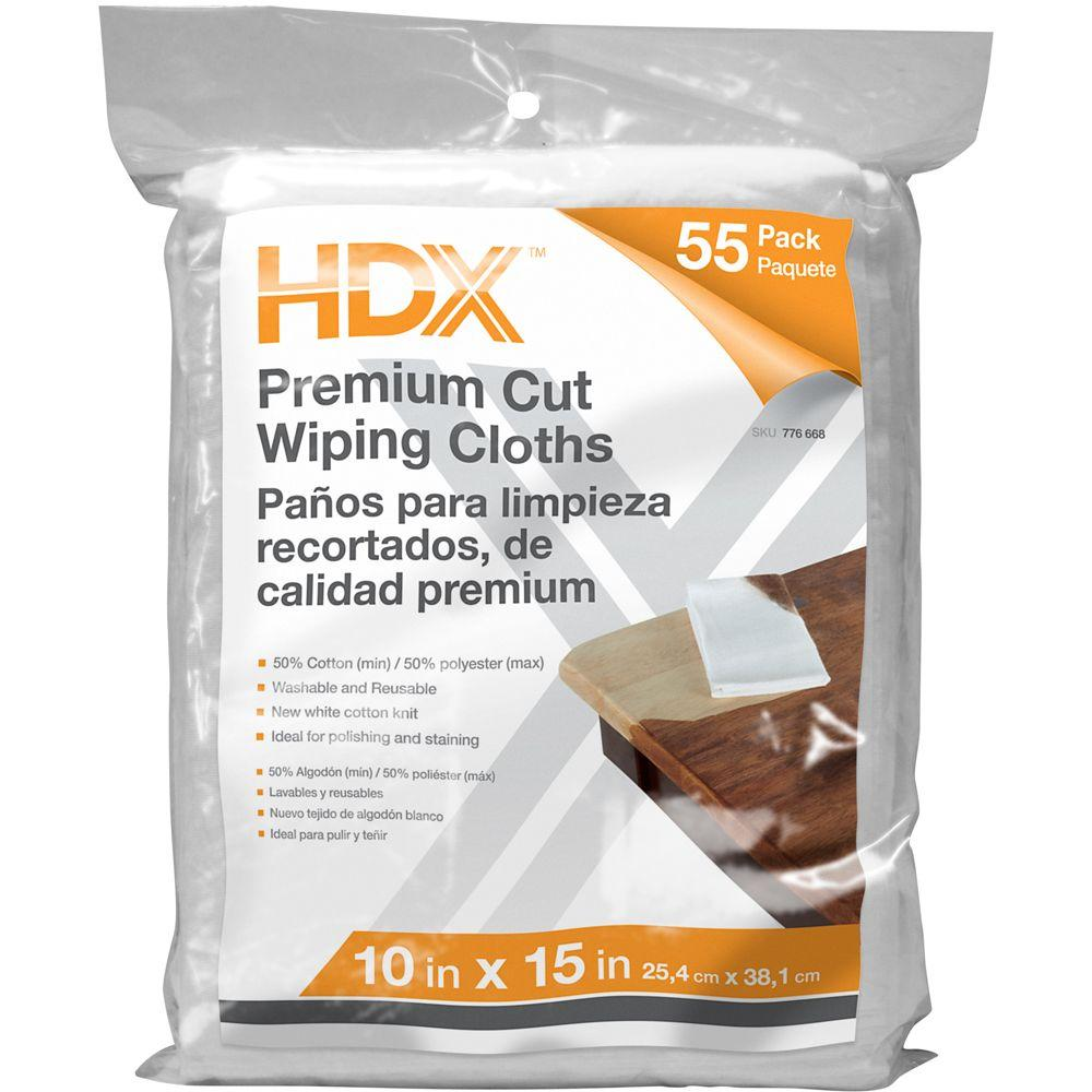 HDX 55-Count 10 in. x 15 in. Exact Cut Wiping Cloths (4-Pack)