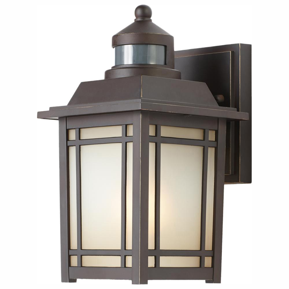 Home Decorators Collection Port Oxford 1-Light Oil-Rubbed Chestnut Outdoor Motion Sensor Wall Lantern Sconce