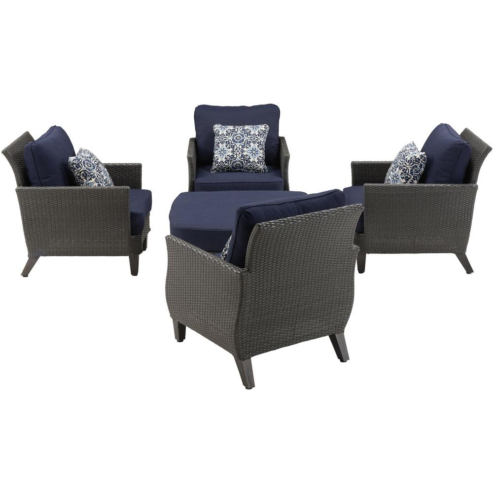 Steel Conversation Set Navy Cushions Blue