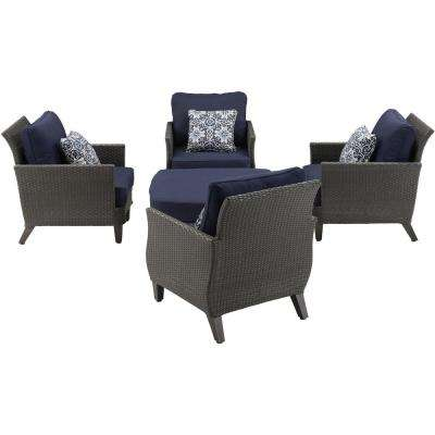 Chatham 5-Piece Steel Outdoor Patio Conversation Set with Navy Cushions Blue